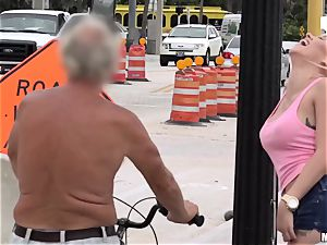 busty blond offers passers-men having lovemaking with her