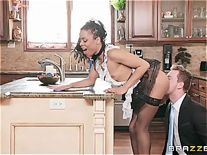 scorching dark-hued maid almost get caught