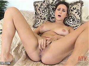 gigantic melon Ashley toys her tight puss