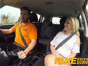 hot blond takes shaft in the back seat