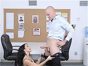 puny bouncer Megan Rain studies client's pants for concealed weapon