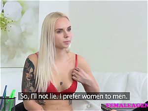 FemaleAgent tattooed blond makes a sexual deal