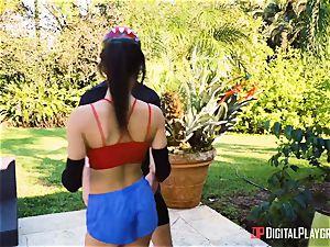 ball sack deep in the pussyhole of Maya Bijou outdoors