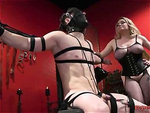 huge-boobed ash-blonde mistress Gives Her marionette a masturbate