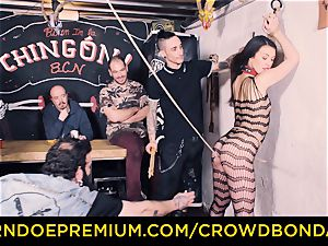 CROWD bondage - Tiffany chick gets spanked in domination & submission shag
