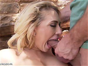 lewd buxom blonde Kagney Linn Karter gets boinked outdoor