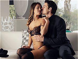 wonderful Eva Lovia is training her boyfriend some manners before the soiree
