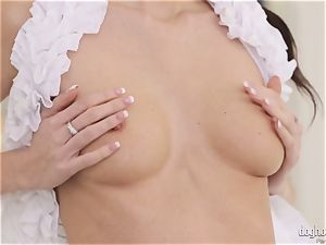 crazy brunettes Lexi Dona and Evelyn Neill stripping off her wondrous clothes