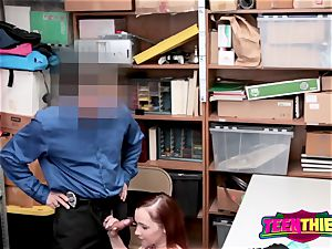 April s gigantic gullet gets her deeply wedged by super-naughty officer